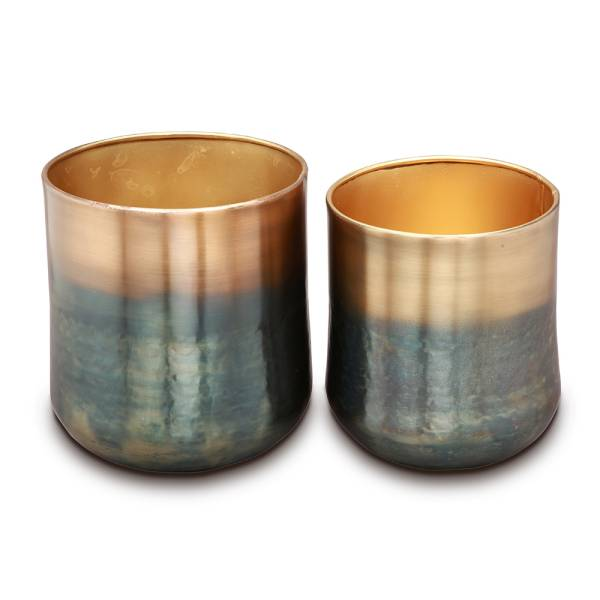 Burnt Brass Finish Planter Holder, Set of 2 By SPI Home