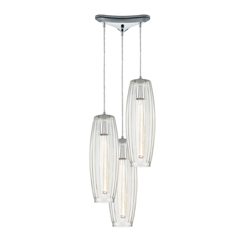 Satin Veil 3-Light Triangular Mini Pendant Fixture in Polished Chrome with Clear Ribbed Glass ELK Lighting