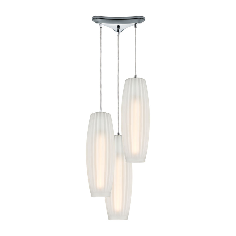Satin Veil 3-Light Triangular Mini Pendant Fixture in Polished Chrome with Frosted Ribbed Glass ELK Lighting