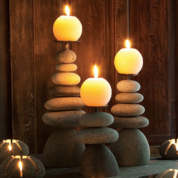 Garden Age Supply Rock Cairn Candle Holders - Set of 3