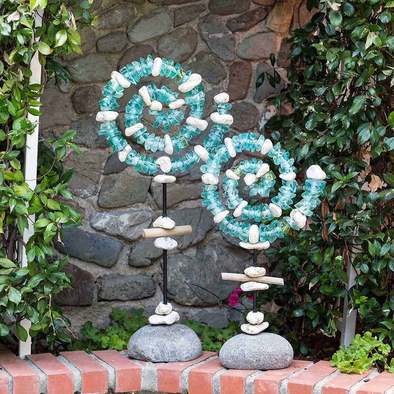 Glass Spiral Garden Stand Set of 2 by Garden Age Supply