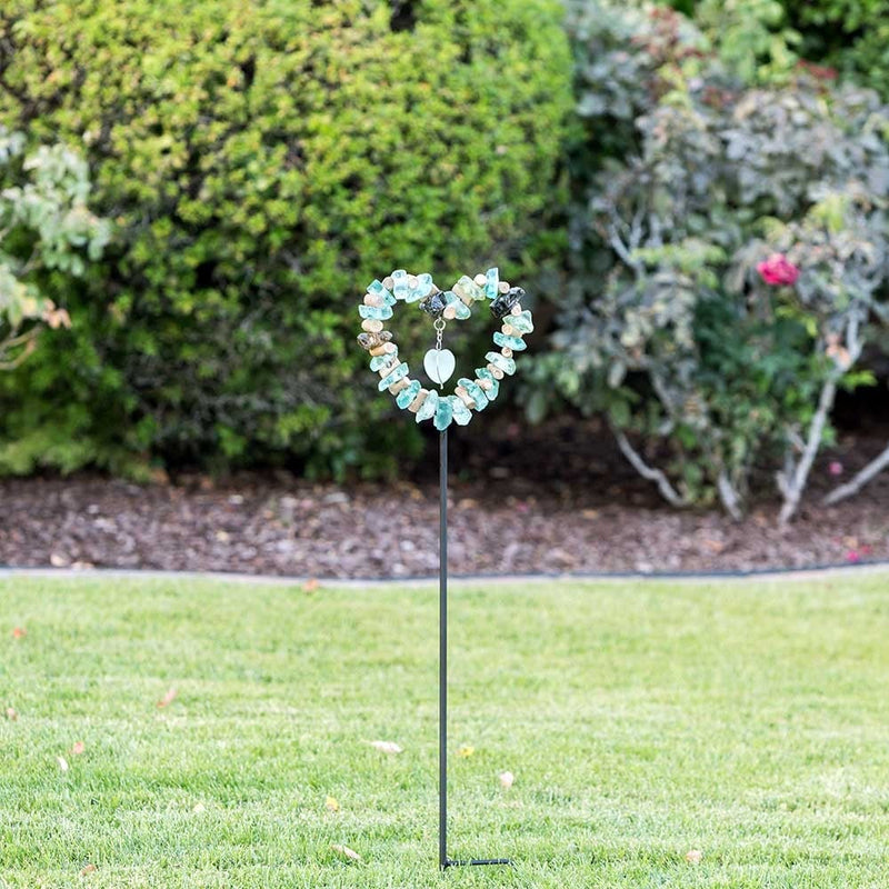 Glass Heart Garden Stake Set of 4 by Garden Age Supply