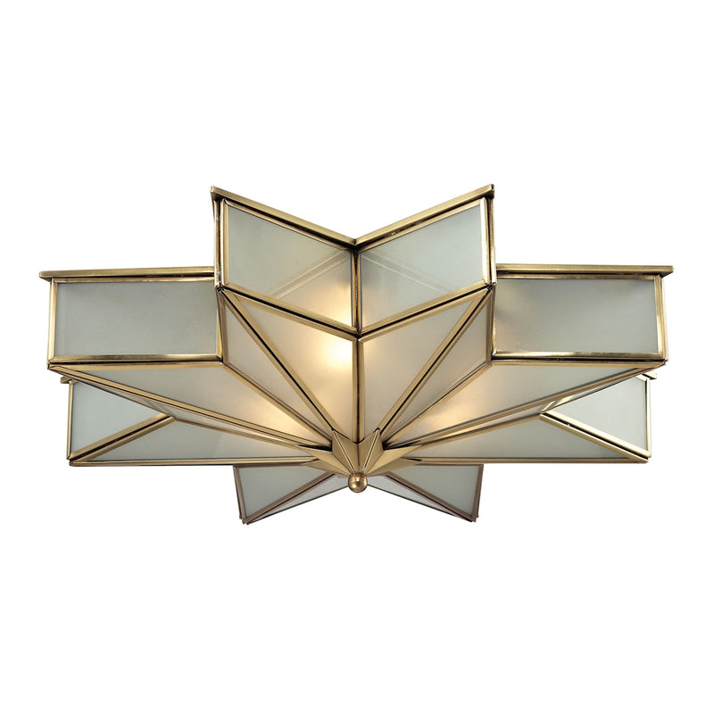 Decostar 3-Light Flush Mount in Brushed Brass with Frosted Glass Panels ELK Lighting