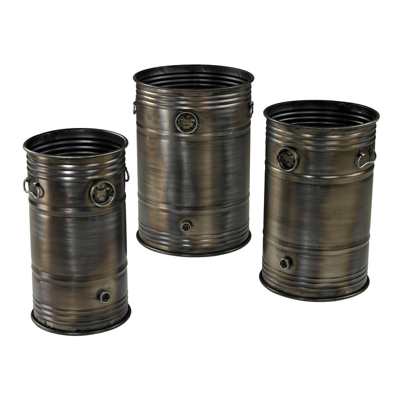 ELK Lighting Industrial Oil Drum Planters - Set Of 3 Planters, Troughs & Cachepots, ELK Lighting, - Modish Store
