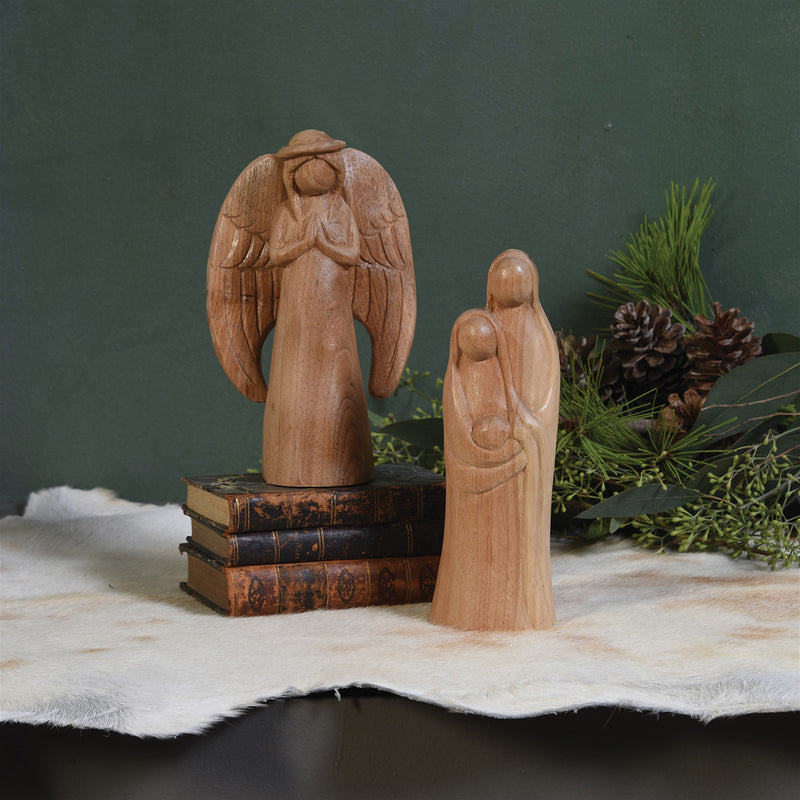 HomArt Primitive Mary And Joseph, Carved Wood Set of 4