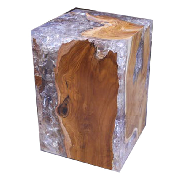 Resin Inlaid Teak Wood Square Block Stool