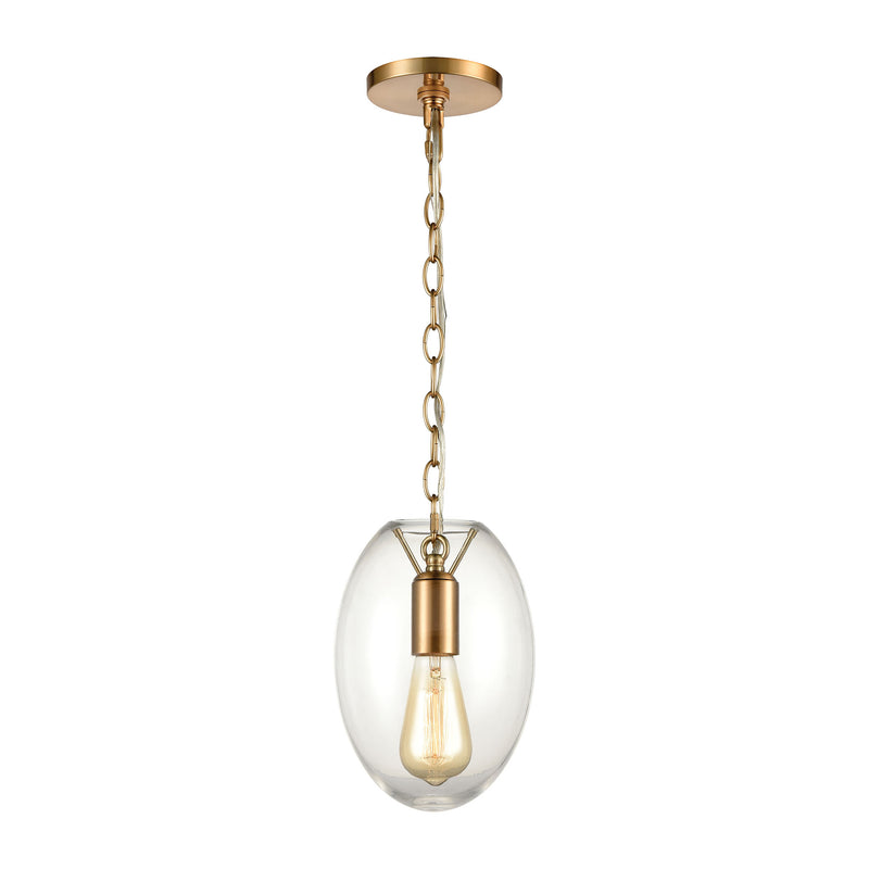 Ellipsa 1-Light Mini Pendant in Satin Brass with Clear Glass by ELK Lighting