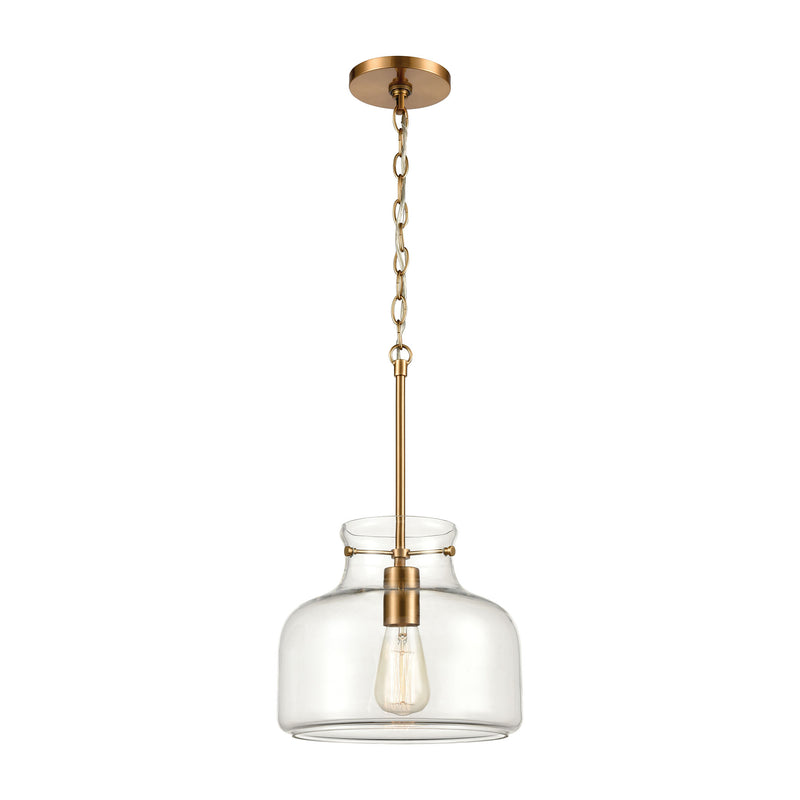 Lola 1-Light Pendant in Satin Brass with Clear Glass by ELK Lighting