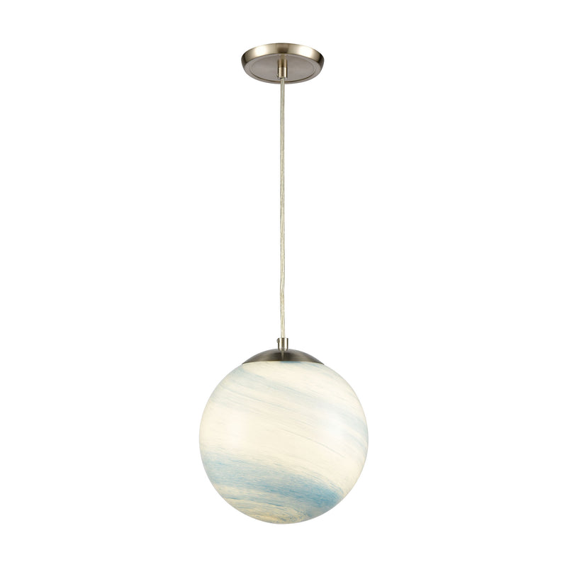 Planetario 1-Light Mini Pendant in Satin Nickel with Swirling Blue and White glass by ELK Lighting