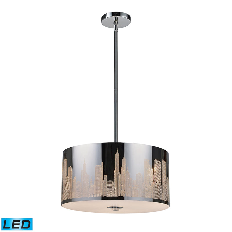 Skyline 3-Light Chandelier in Polished Stainless Steel - Includes LED Bulbs ELK Lighting