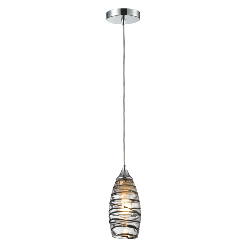 Twister 1-Light Mini Pendant in Polished Chrome with Sculpted Glass ELK Lighting