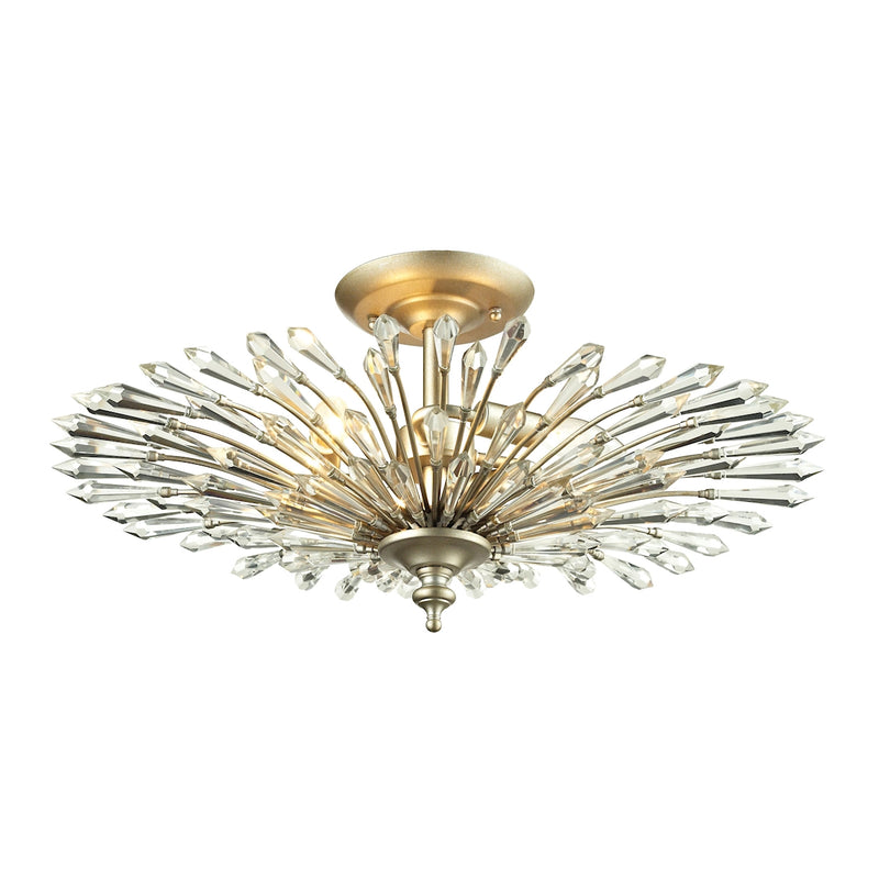 Viva 3-Light Semi Flush in Aged Silver with Openwork Crystal Spear Diffuser ELK Lighting