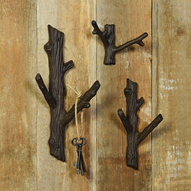 HomArt Faux Bois Cast Iron Wall Hook - Twig - Brown - Set of 6 - Feature Image