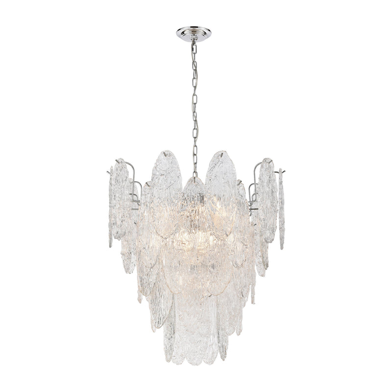 Frozen Cascade 9-Light Chandelier in Polished Chrome with Clear Textured Glass ELK Lighting