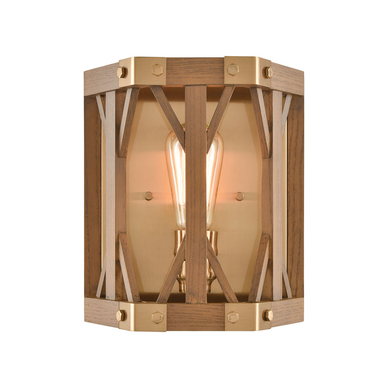 Structure 1-Light Wall Lamps in Satin Brass and Medium Oak by ELK Lighting