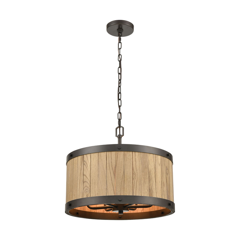 ELK Lighting's Wooden Barrel 6-Light Chandelier
