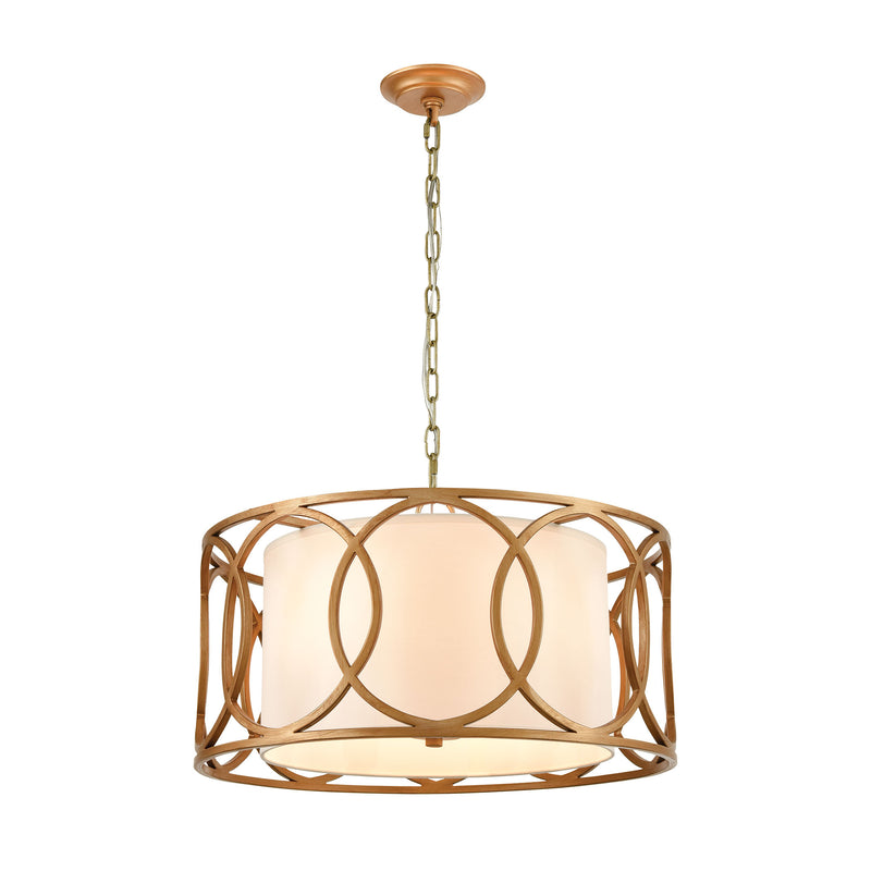 Ringlets 4-Light Chandelier in Golden Silver with White Fabric Shade by ELK Lighting