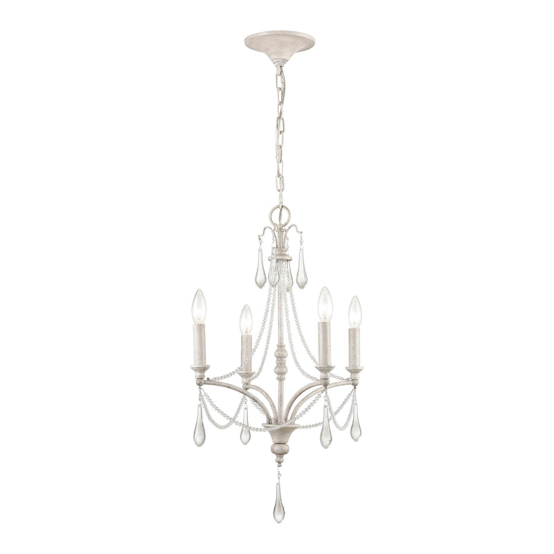 French Parlor 4-Light chandelier in Vintage White ELK Lighting