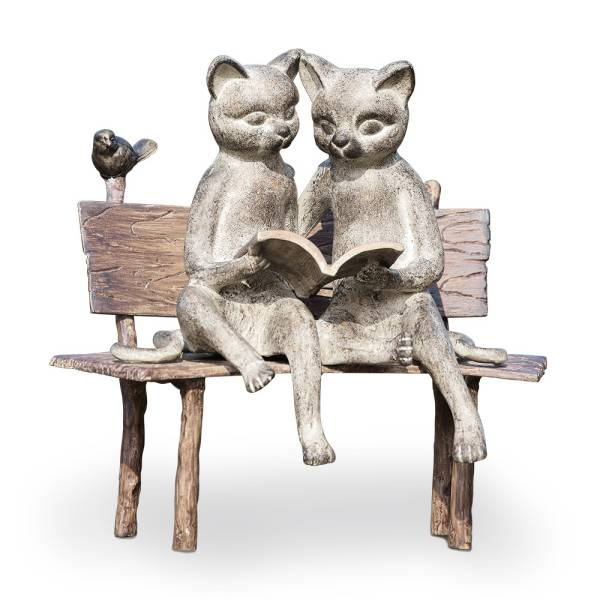 Reading Cats on Bench Garden Sculpture By SPI Home