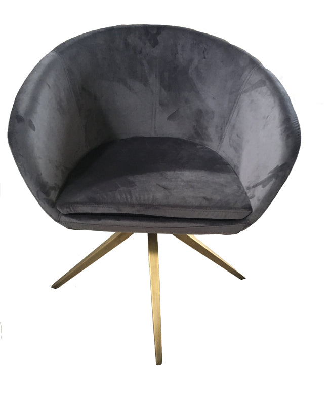 Vig Furniture Modrest Yara Modern Grey Velvet & Bronze Dining Chair