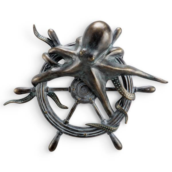 Octopus and Ships Wheel Wall Plaque By SPI Home
