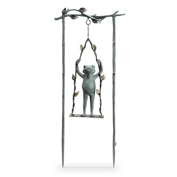 Daredevil Frog on Swing Garden Stake By SPI Home