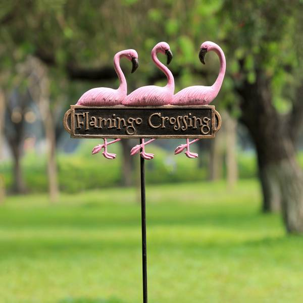 Flamingo Trio Welcome Sign on Stake By SPI Home