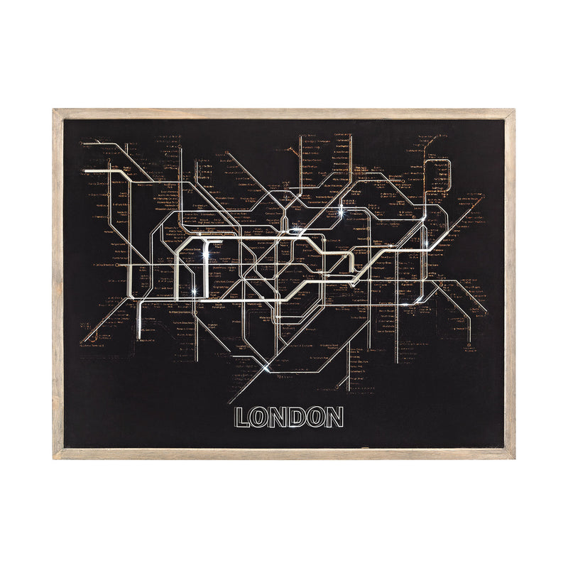 Sterling Industries Tubetime Grey with Black 24-Inch Wood and Glass London Tubemap Wall Decor