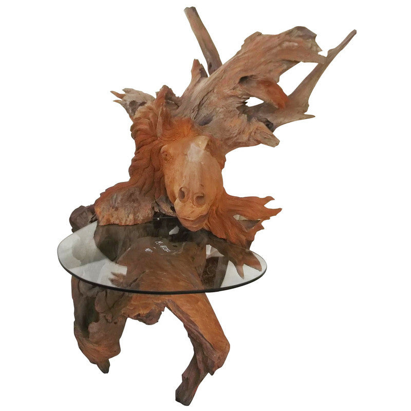 A&B Home Teak Wood Horse Side Table