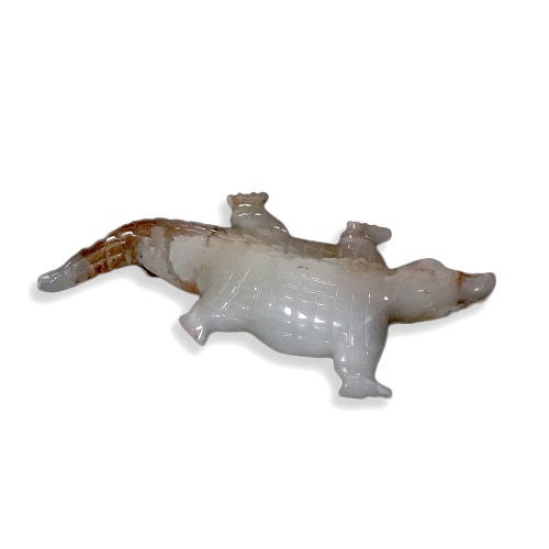 White Onyx Crocodile Figurine- 12""