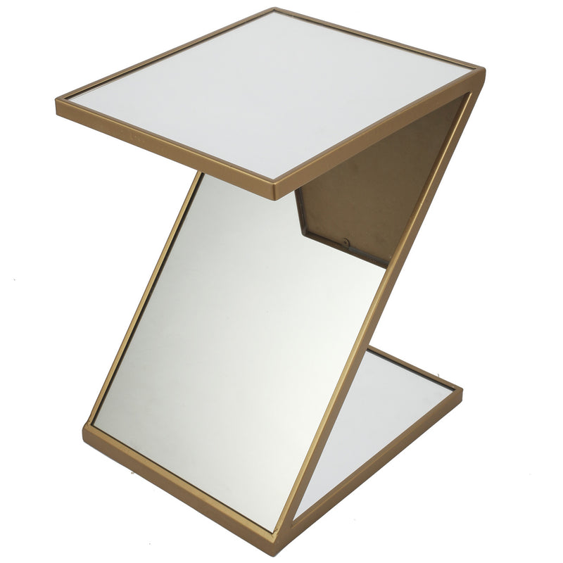 A&B Home Mirrored Z-Shaped Accent Table