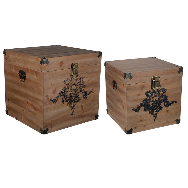 A&B Home Kinsley Natural Storage Cubes - Set Of 2
