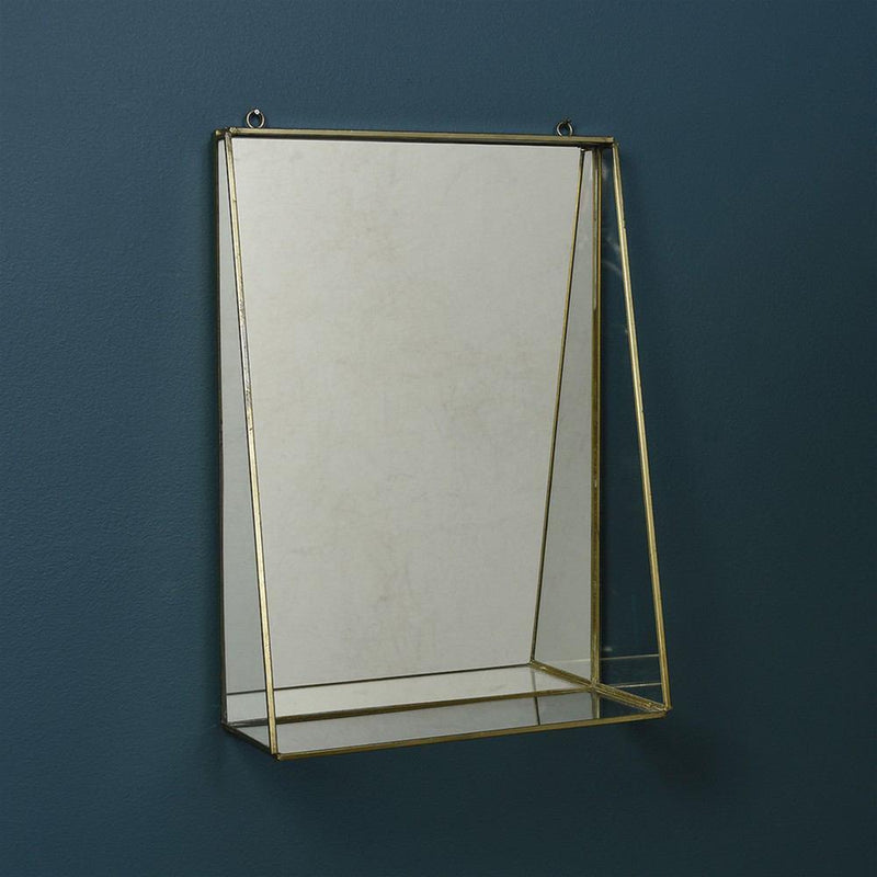 HomArt Monroe Mirror with Shelf - Brass - Set of 2