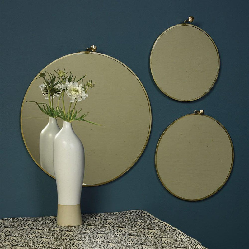 HomArt Monroe Round Mirror - Brass - Set of 4