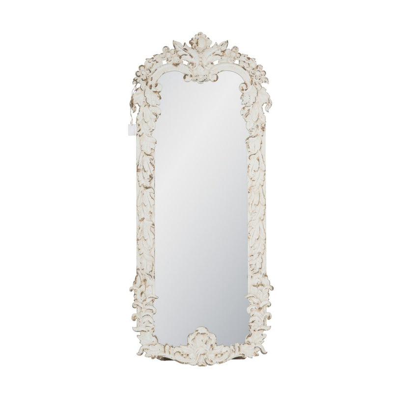 A&B Home Distressed White Mirror with Durable Wood Frame