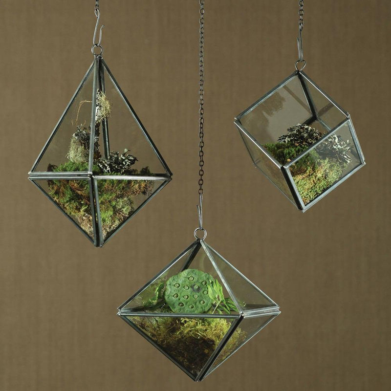 HomArt Pierre Geometric Terrarium - Zinc - Set of 4