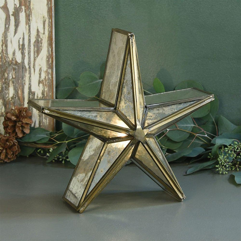 HomArt Glass Star Candle Holder - Mirrored - Brass