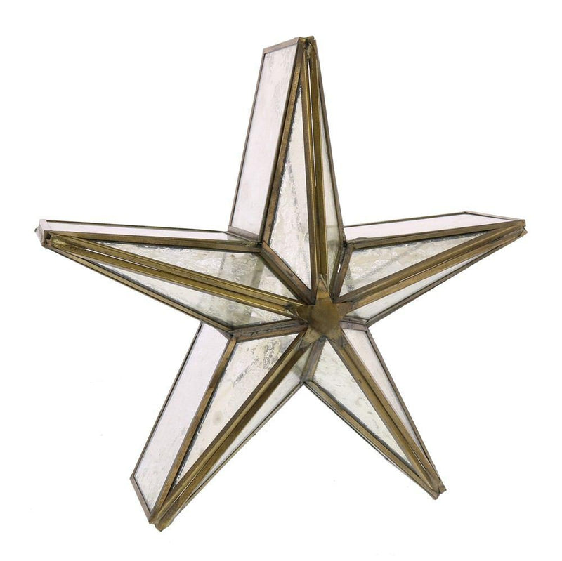 HomArt Glass Star Candle Holder - Mirrored - Brass - Small