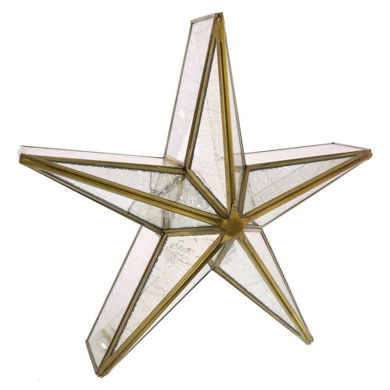 HomArt Glass Star Candle Holder - Mirrored - Brass - Med