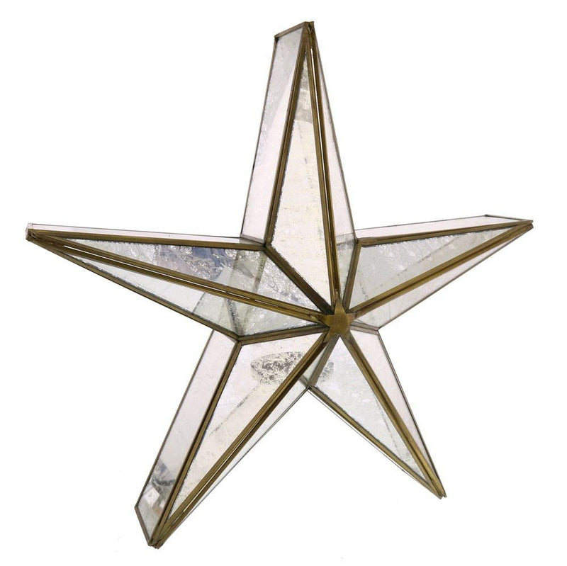 HomArt Glass Star Candle Holder - Mirrored - Brass - Feature Image