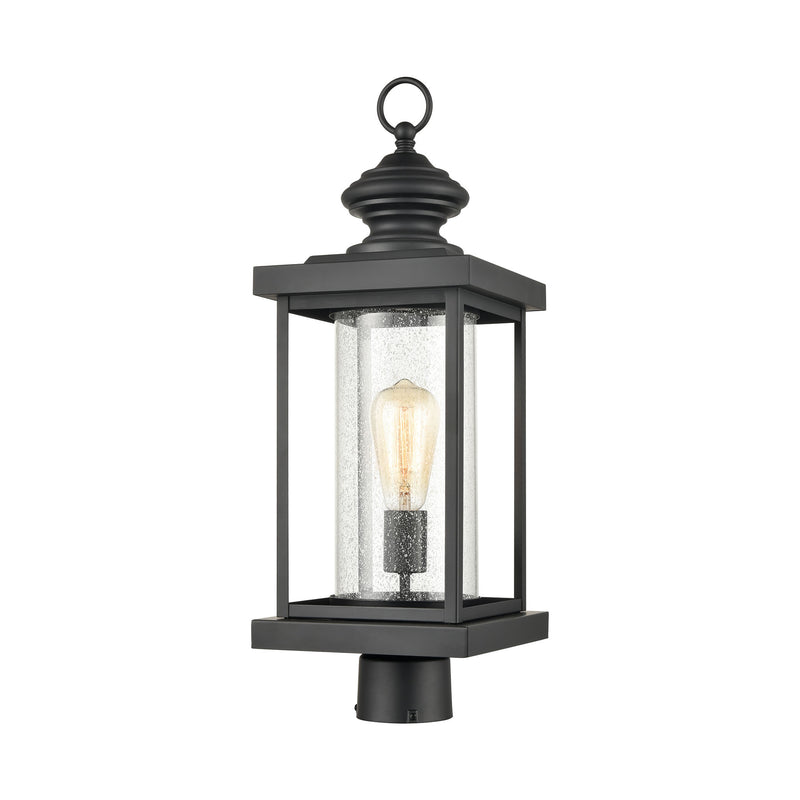 Minersville 1-Light Outdoor Post Mount in Matte Black with Antique Speckled Glass by ELK Lighting