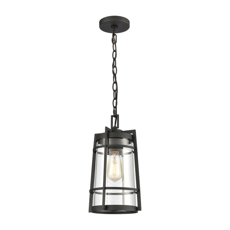 Crofton 1-Light Outdoor Pendant in Charcoal with Clear Glass by ELK Lighting