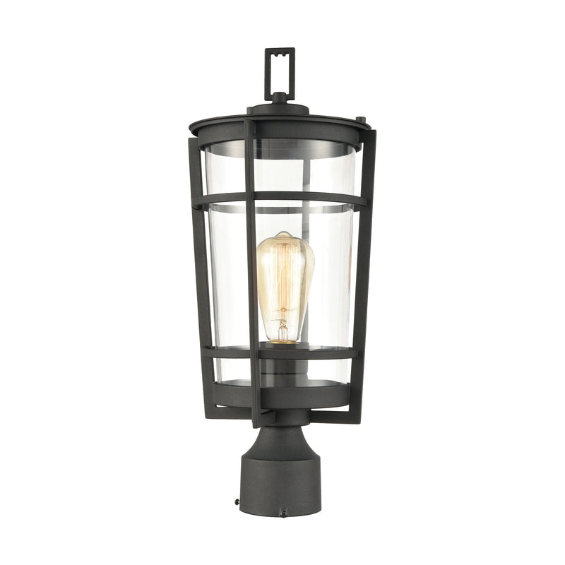Crofton 1-Light Outdoor Post Mount in Charcoal with Clear Glass by ELK Lighting