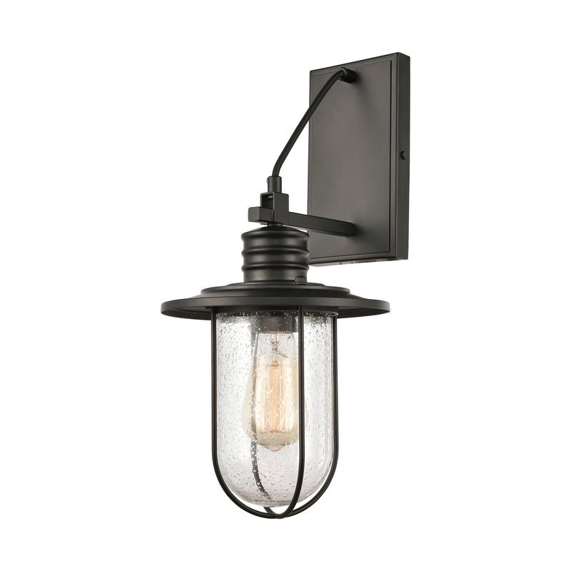 Lakeshore Drive 1-Light Wall Lamps in Matte Black with Seedy Glass by ELK Lighting
