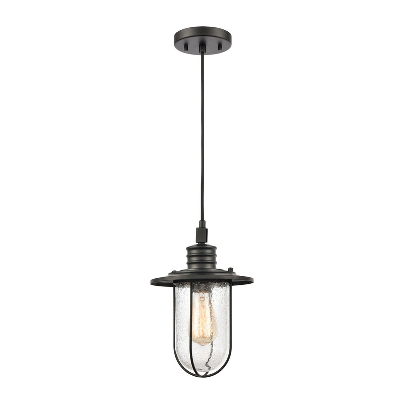 Lakeshore Drive 1-Light Mini Pendant in Matte Black with Seedy Glass by ELK Lighting