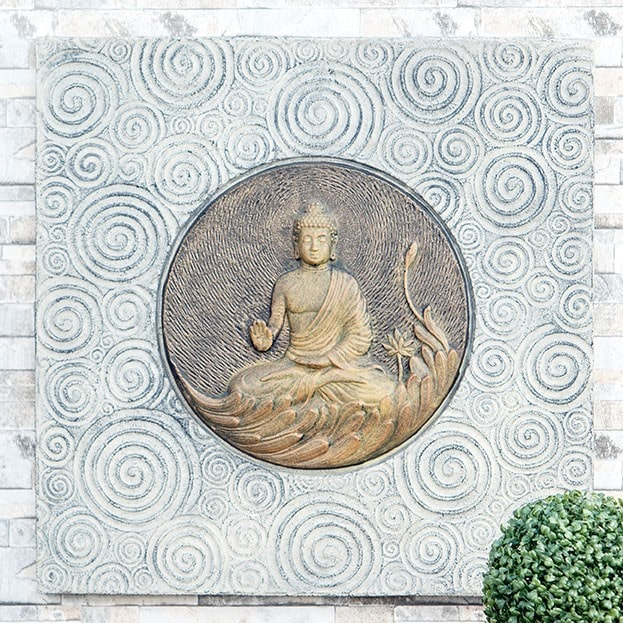 Garden Age Supply Relief Buddha on Lotus Wall Decor