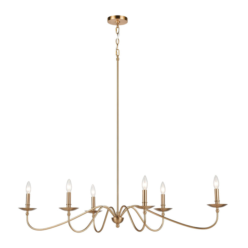 Wellsley Chandelier in Burnished Brass by ELK Lighting