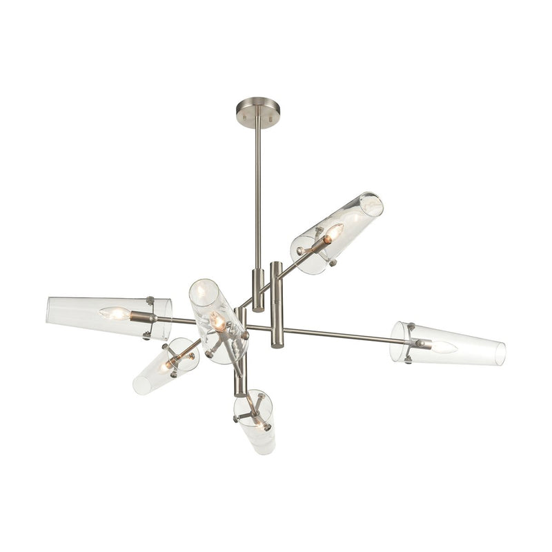 Valante 6-Light Chandelier in Satin Nickel with Clear Glass by ELK Lighting