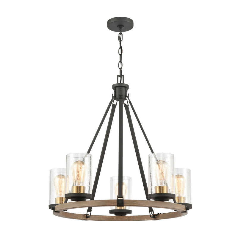 Geringer 5-Light Chandelier in Charcoal and Beechwood with Seedy Glass by ELK Lighting