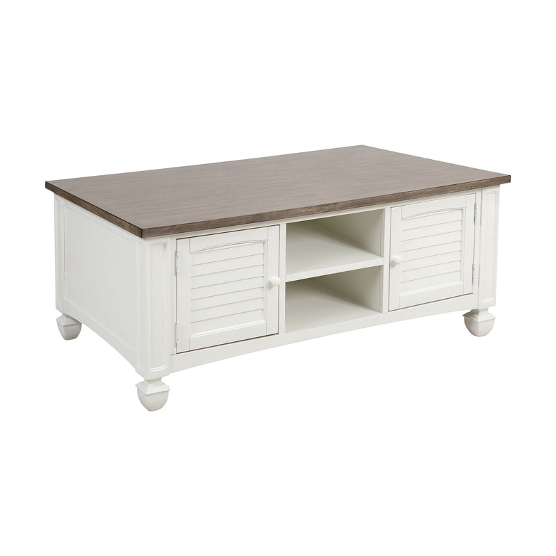 Nantucket 2-Door Coffee Table in White with Baskets Steinworld